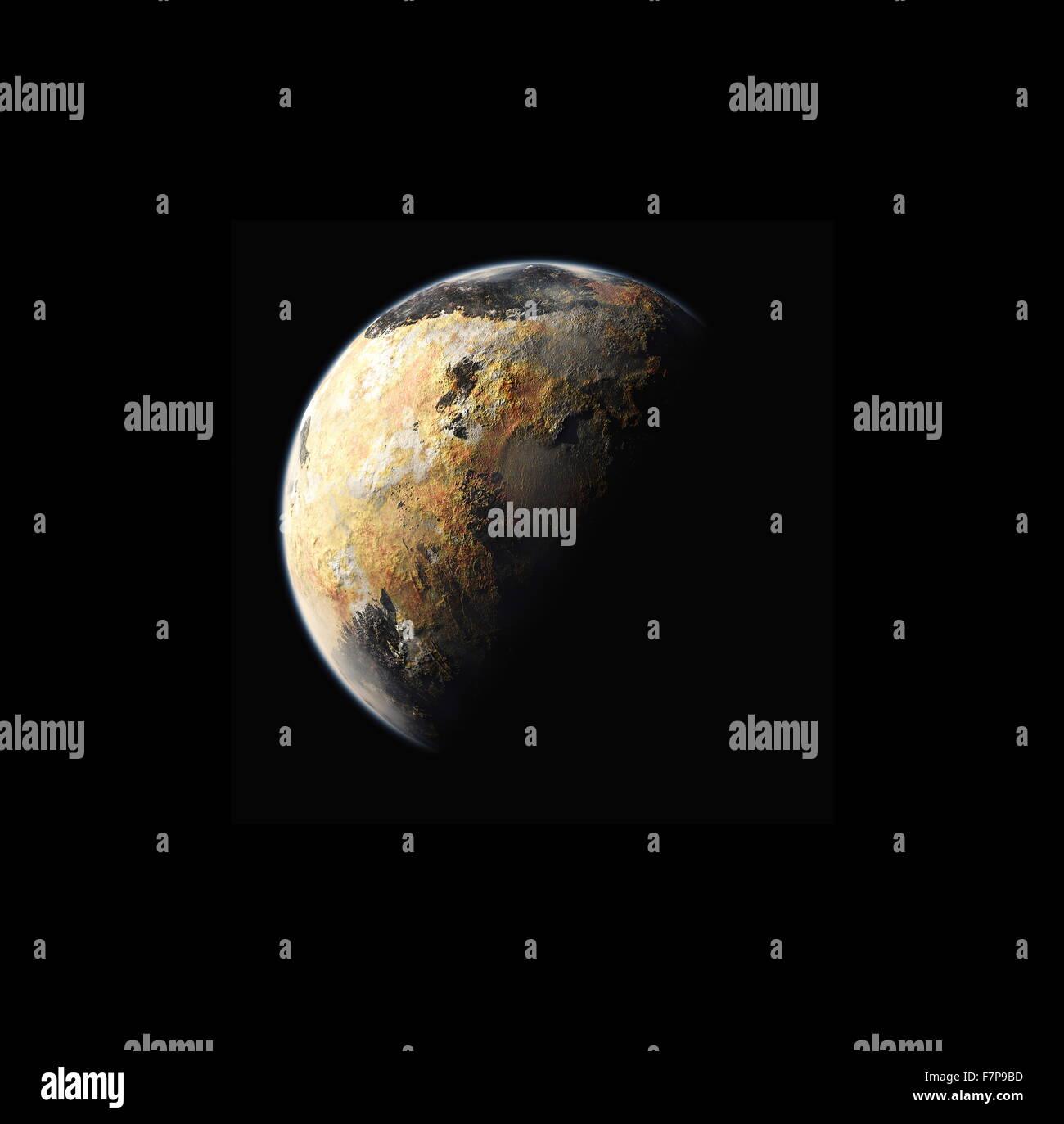 Künstlers Konzept des Planeten Pluto 2015 Stockbild