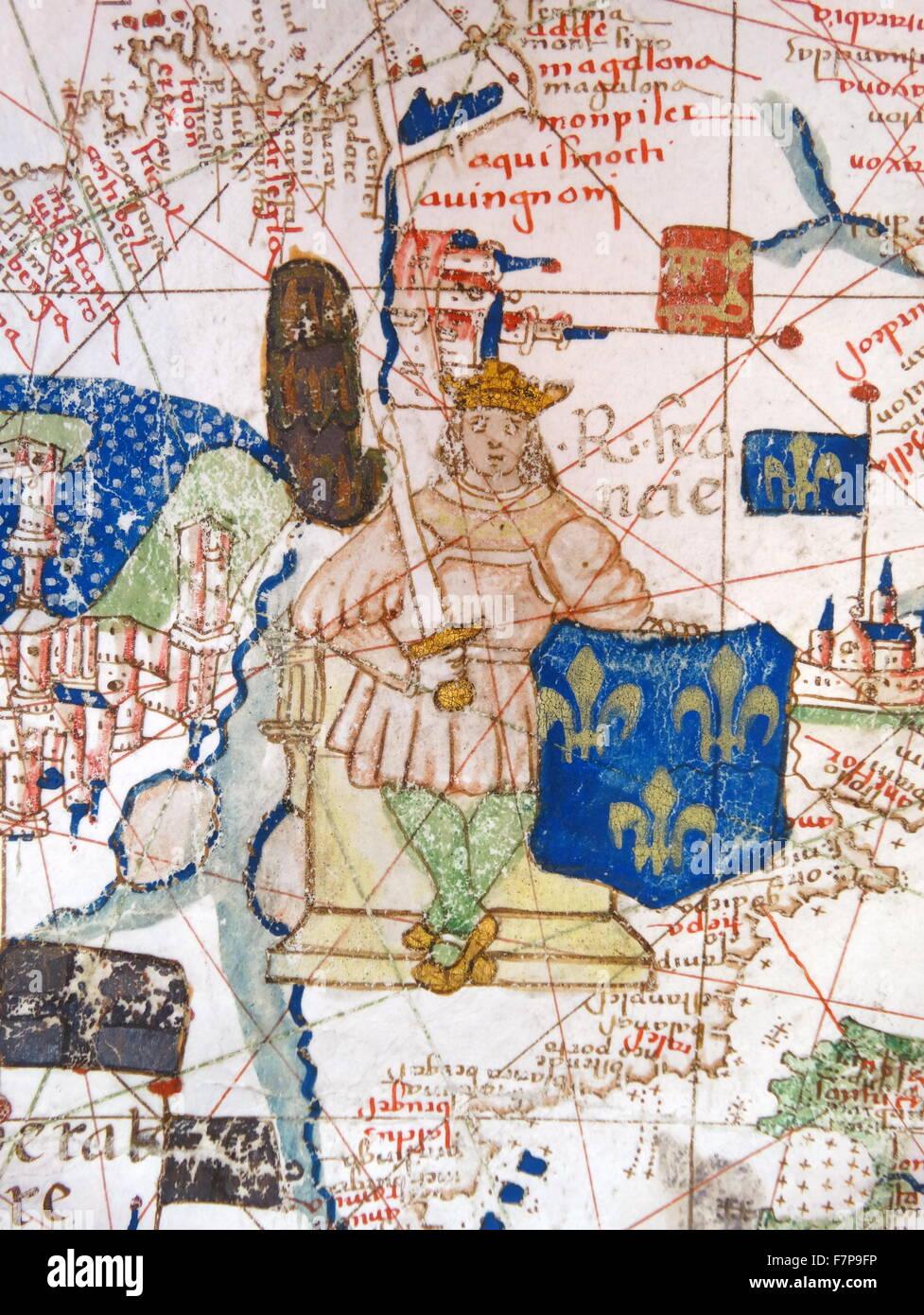 Renaissance Europakarte, Jacopo Russo, 1528, detail Stockbild