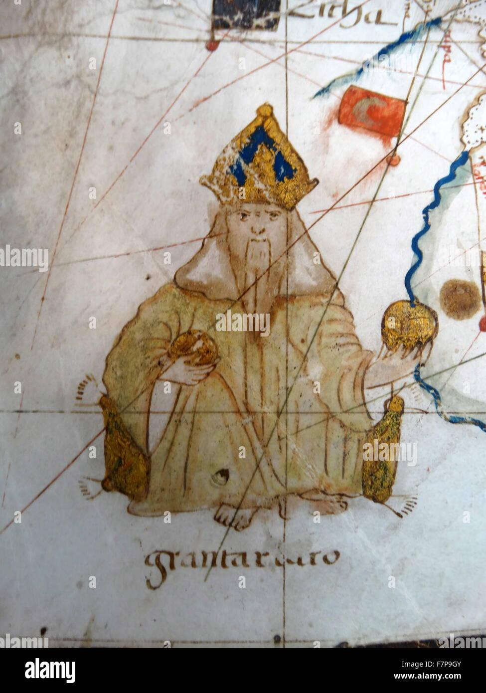 Renaissance Europakarte, Jacopo Russo, 1528, Stockbild