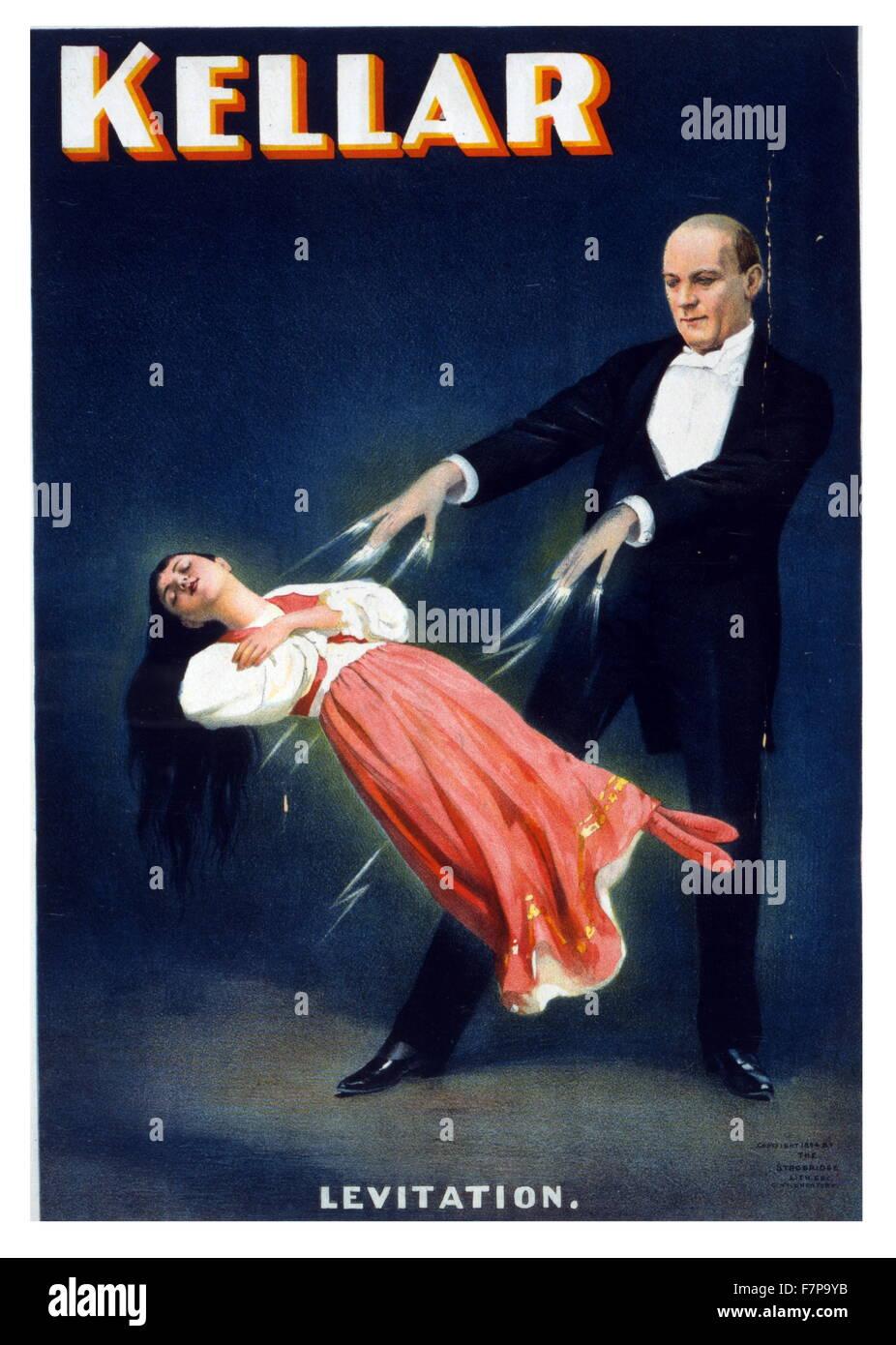 Poster, Farbe, Lithographie, berechtigt Kellar. Harry Kellar einen seiner denkwürdigsten Stadium Illusionen, Stockbild