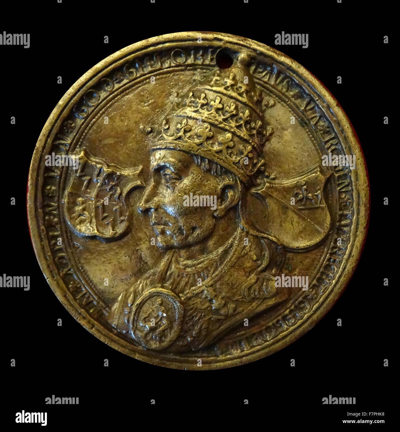 Münze Zeigt Papst Adrian Vi Niederländischen Datiert Aus Dem 16