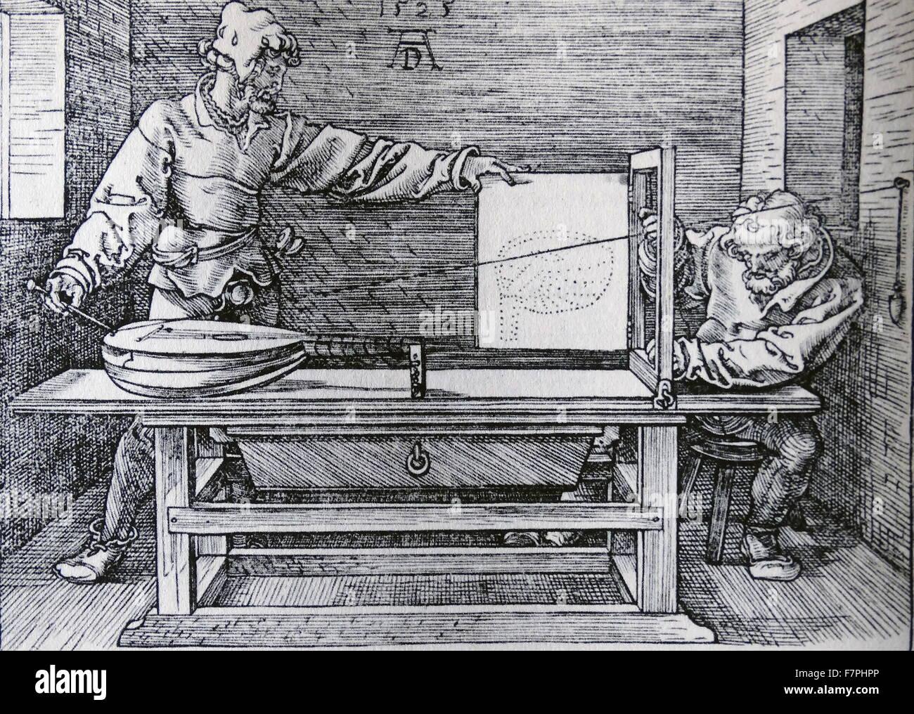 """Holzschnitt mit dem Titel """"Demonstration der Prespective Zeichnen einer Laute"""" von Albrecht Dürer Stockbild"""