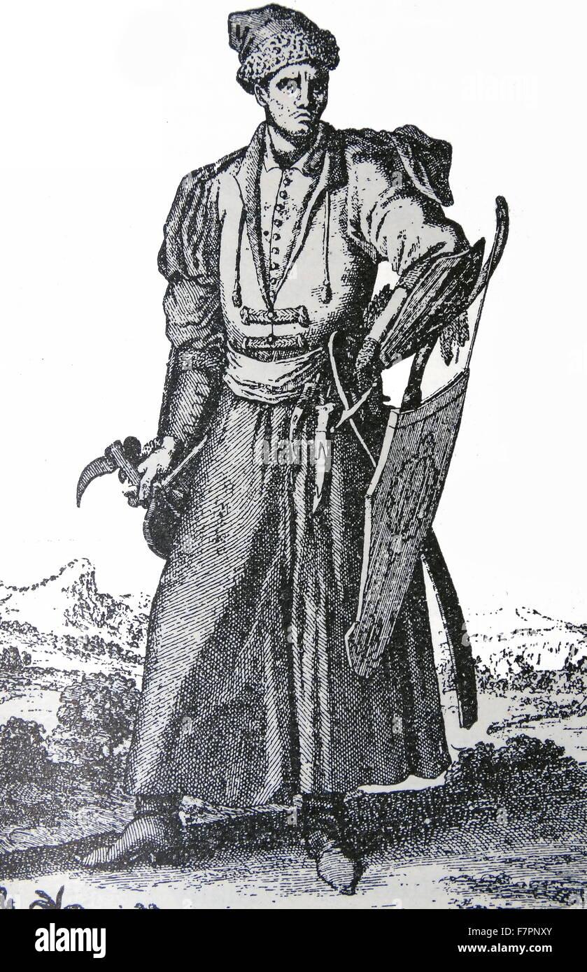 Gravur mit einem bewaffneten polnischen Adligen. Vom 18. Jahrhundert Stockbild