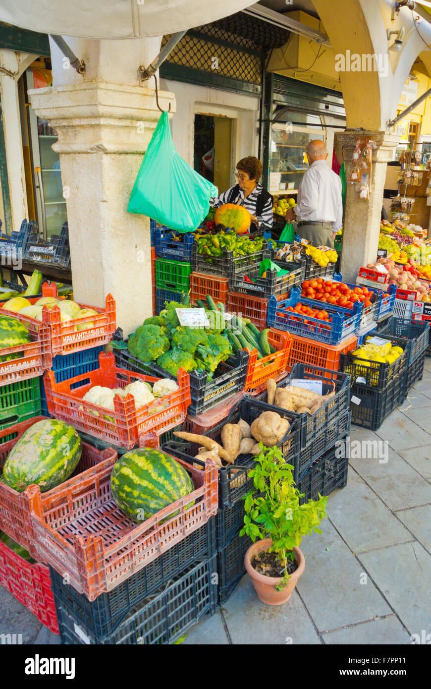 Lebensmittel Shop, Nikiforou Theotoki Straße, alte Stadt, Korfu, Ionische Inseln, Griechenland Stockbild