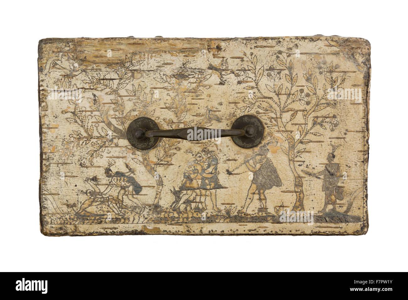 Der Spitze einer Birke Rinde Box, bestickt mit Elch Haar, gemacht ...