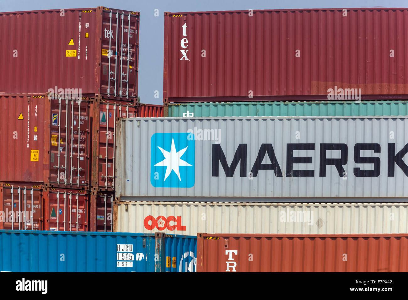 Maersk Container Verschiffen Zeichen Marke Stockbild