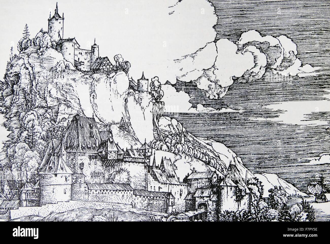 Abbildung nach Albrecht Dürers Kupferstich Gravur (1502) von Castel Segonzano Stockbild