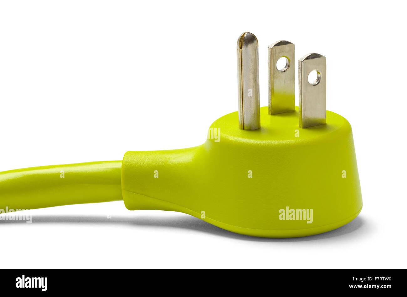 Grüne elektrische Kabelstecker, Isolated on White Background. Stockbild