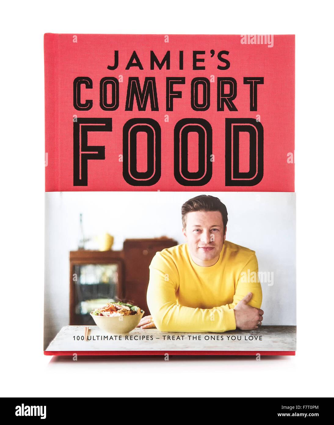 Jamie Oliver Komfort Essen, 100 ultimative Rezepte - die, die Sie auf einem weißen Hintergrund Liebe behandeln Stockbild