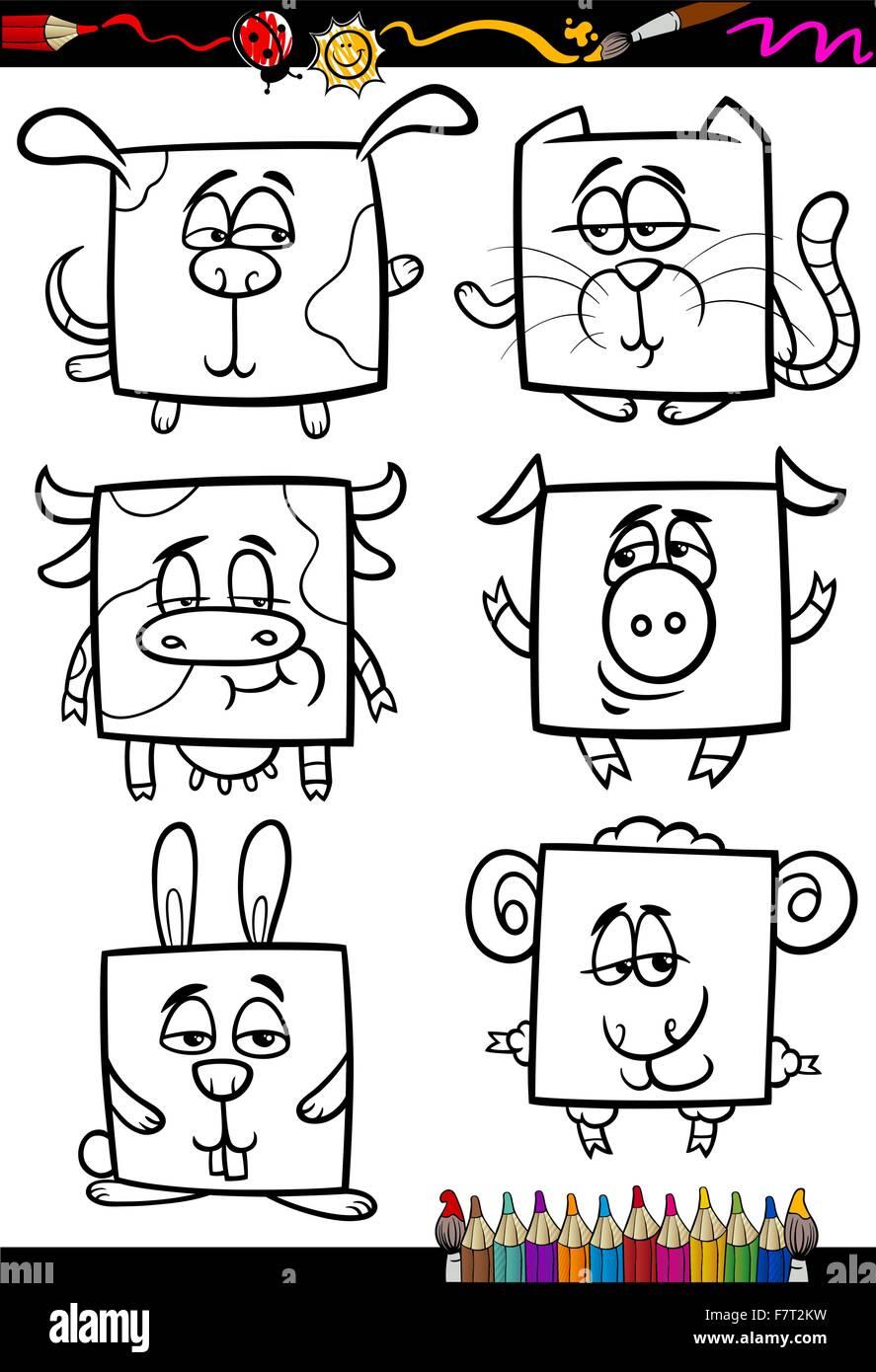 süße Tiere Cartoon-Malbuch Vektor Abbildung - Bild: 90883405 - Alamy