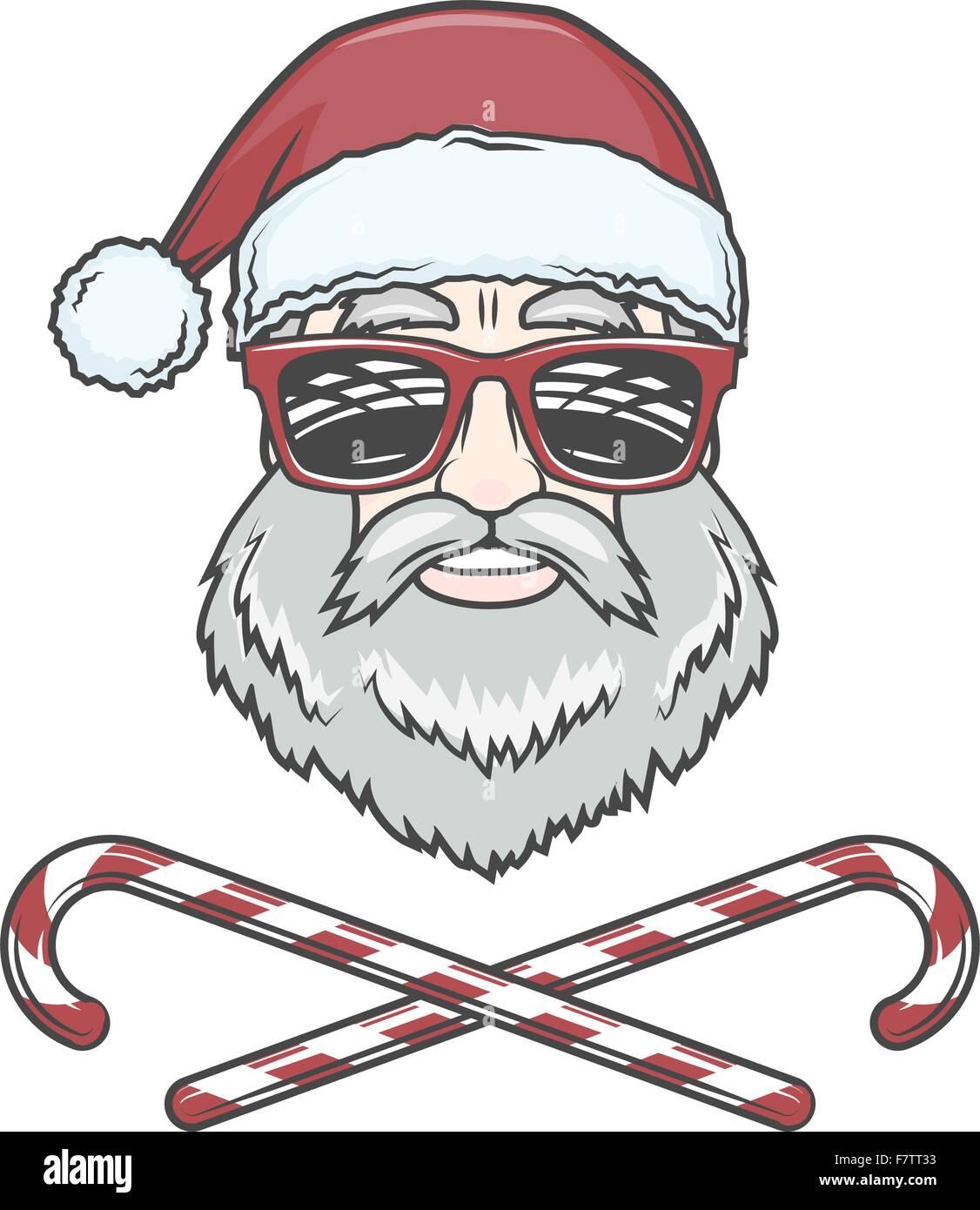 Santa Claus Biker mit Süßigkeiten Kegel und Hipster Gläser print ...