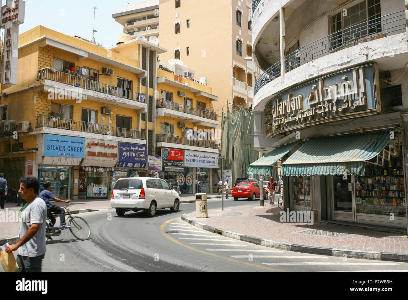 Elektronik-Fachgeschäften in Bur Dubai Souk, Dubai, Vereinigte Arabische Emirate Stockbild