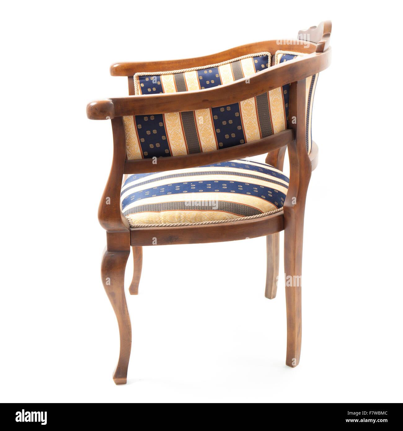 Retro stil sessel in gestreiften stoff gepolstert der for Stuhl gepolstert