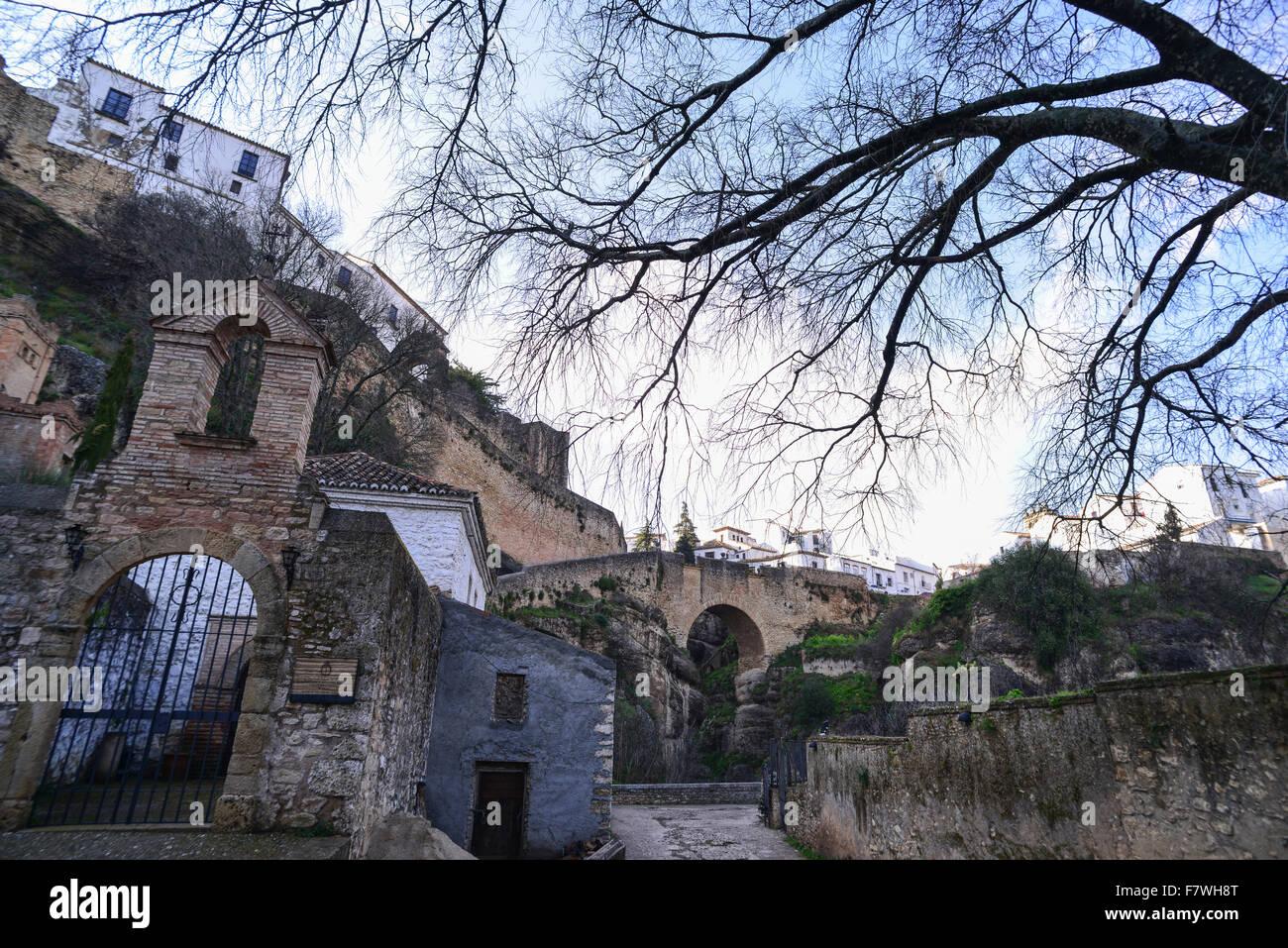 Ansicht von Puente Viejo, Ronda, Spanien Stockbild