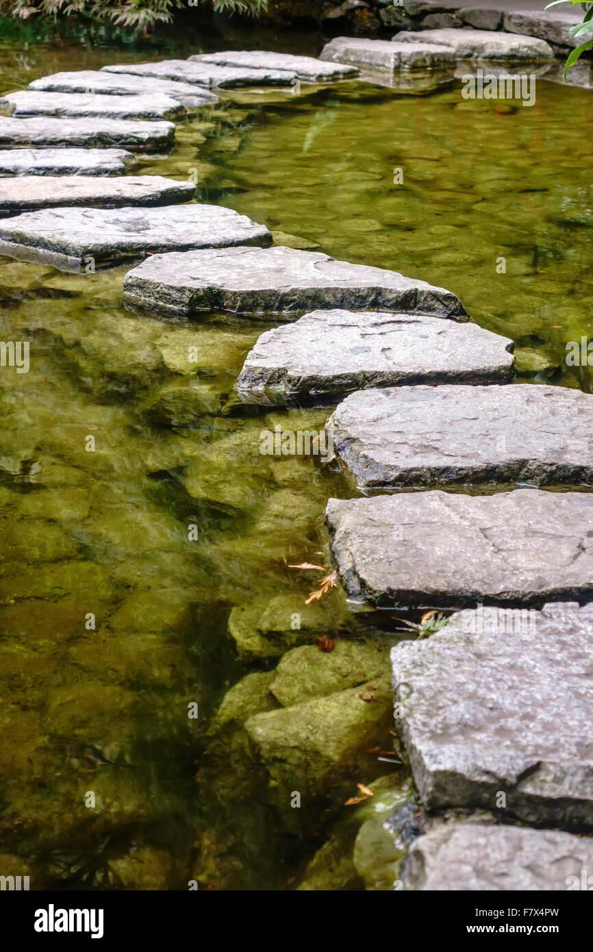 trittsteine über einen teich im japanischen garten stockfoto, bild