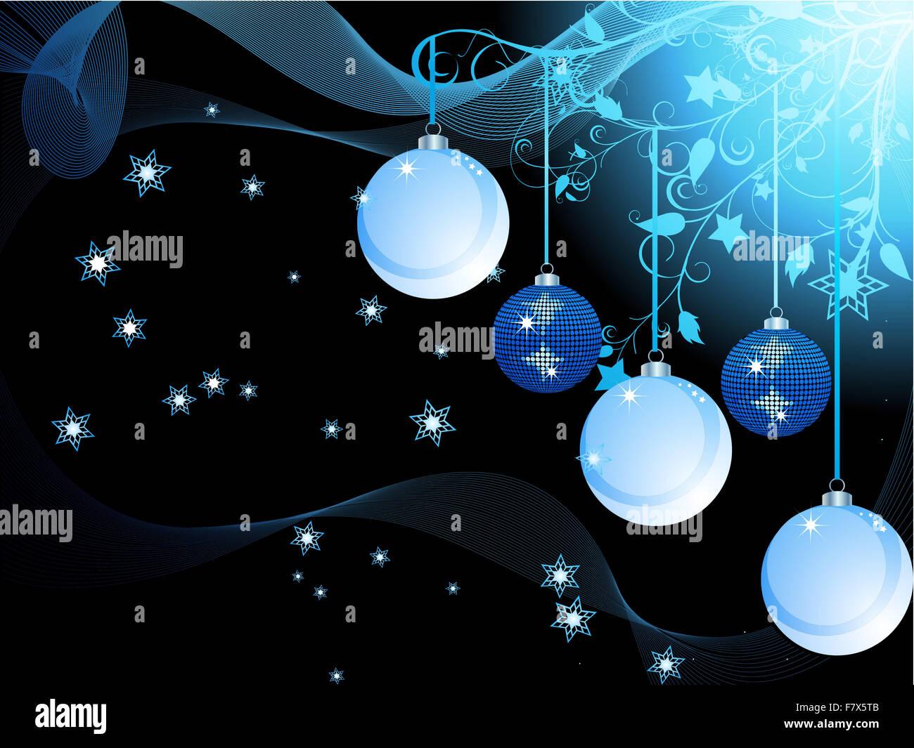 Christbaumkugeln Sterne.Weihnachten Hintergrund Mit Christbaumkugeln Wellen Sterne