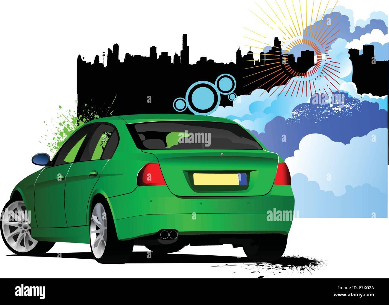 Grünes Auto Limousine Stockbild