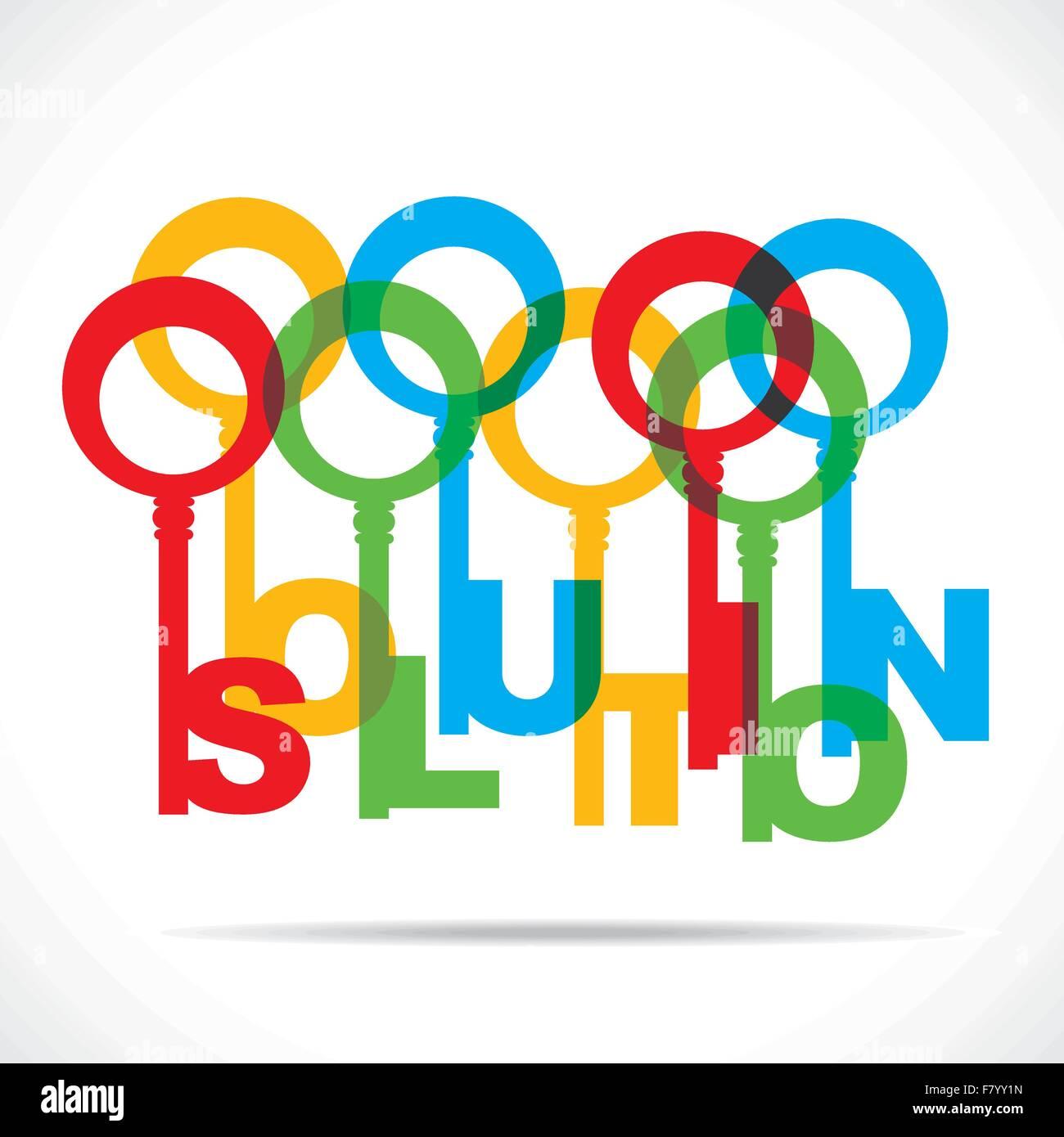 Lösung Wort Farbschlüssel Stockbild