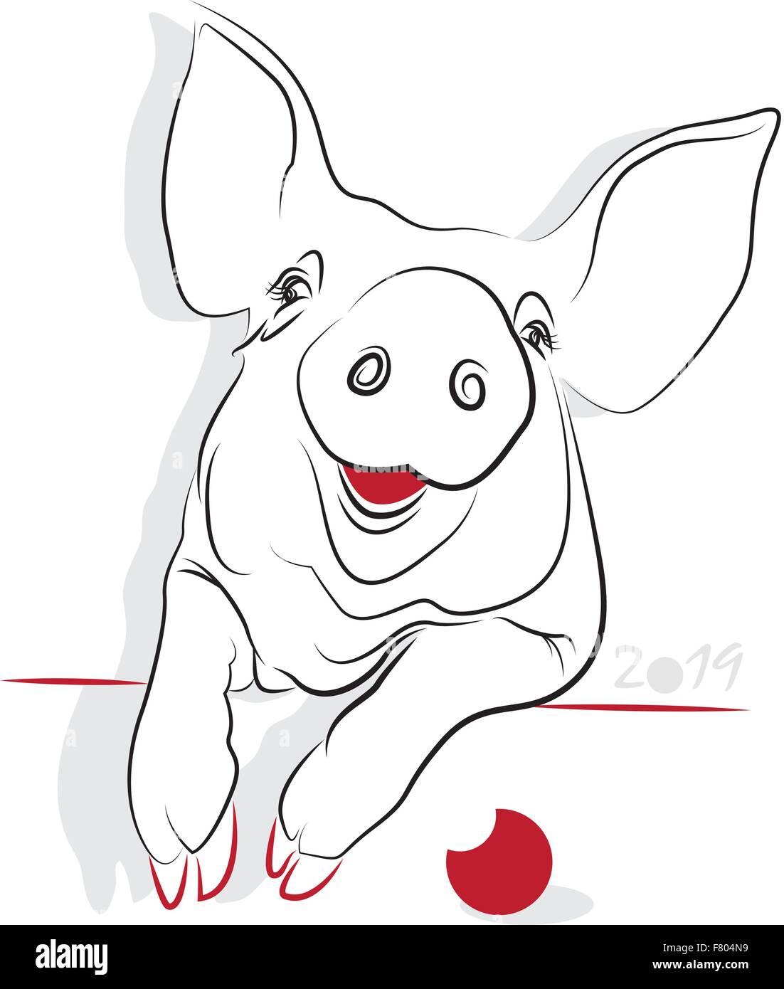 Chinesisches Neujahr 2019 vom Schwein (Pig-Jahr). Gruß oder ...