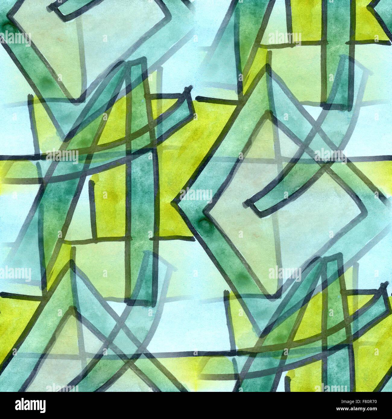 Außergewöhnlich Kubismus Künstler Galerie Von Grün Blaue Linien Nahtlose Textur Aquarell Künstler