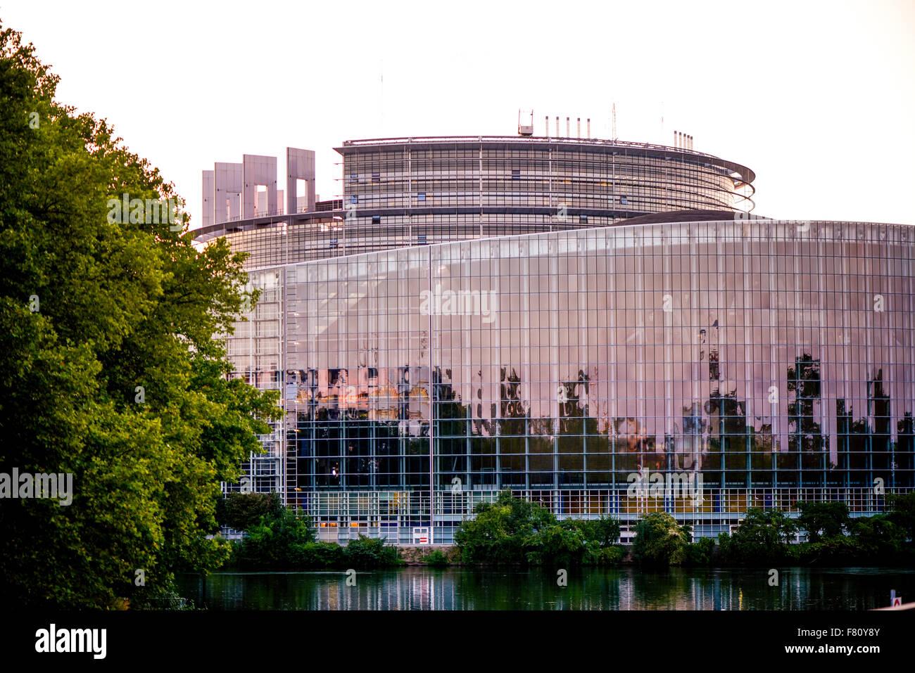 EU-Parlament, Straßburg, Elsass, Frankreich Stockbild