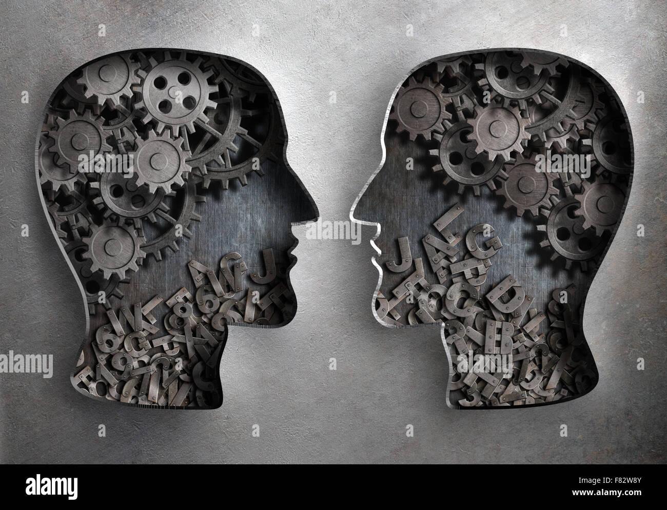 Dialog oder Kommunikations-, Informations- und Wissens-Austausch Stockbild