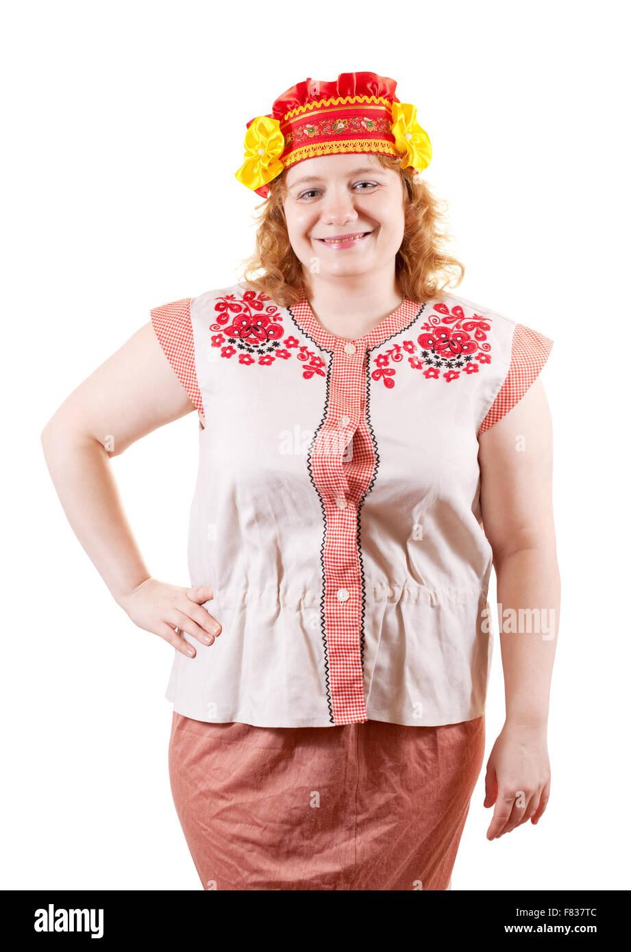 Studioaufnahme Von Frau In Der Russischen Folklore Kleidung