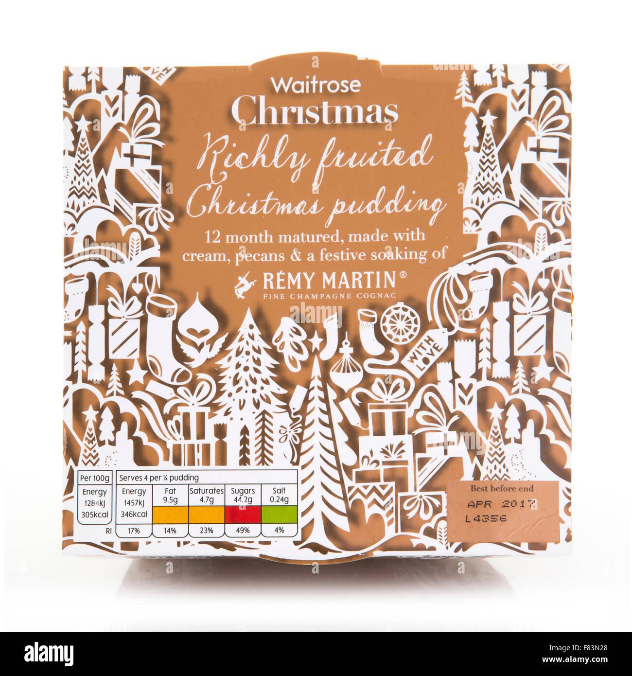 Waitrose Fruited Reich Christmas Pudding mit Sahne, Pekannüsse und eine festliche einweichen Remy Martin Champagne Stockbild
