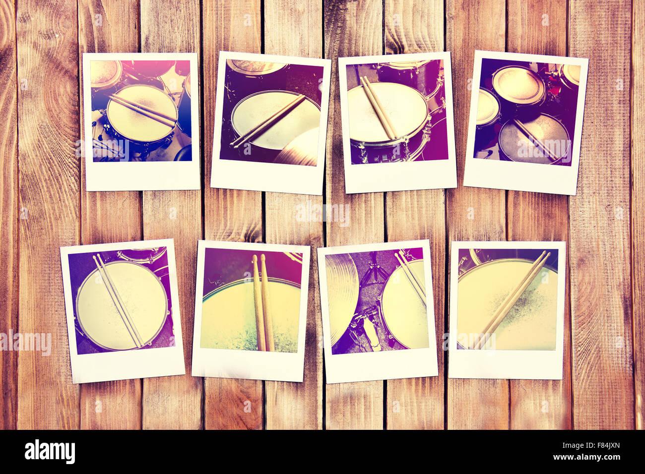 Konzeptbild Trommeln. Trommeln und Drumsticks auf Polaroid-Foto ...