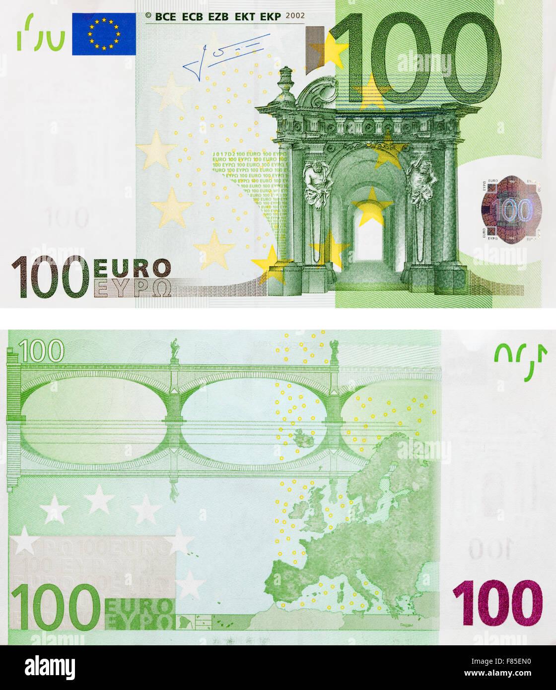 hundert euro neue banknoten vorder und r ckseite stockfoto bild 91090412 alamy. Black Bedroom Furniture Sets. Home Design Ideas