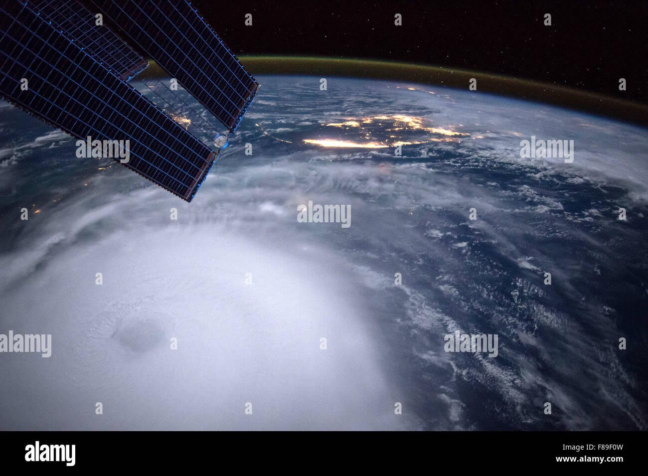 Hurrikan Joaquin von der internationalen Raumstation Stockbild