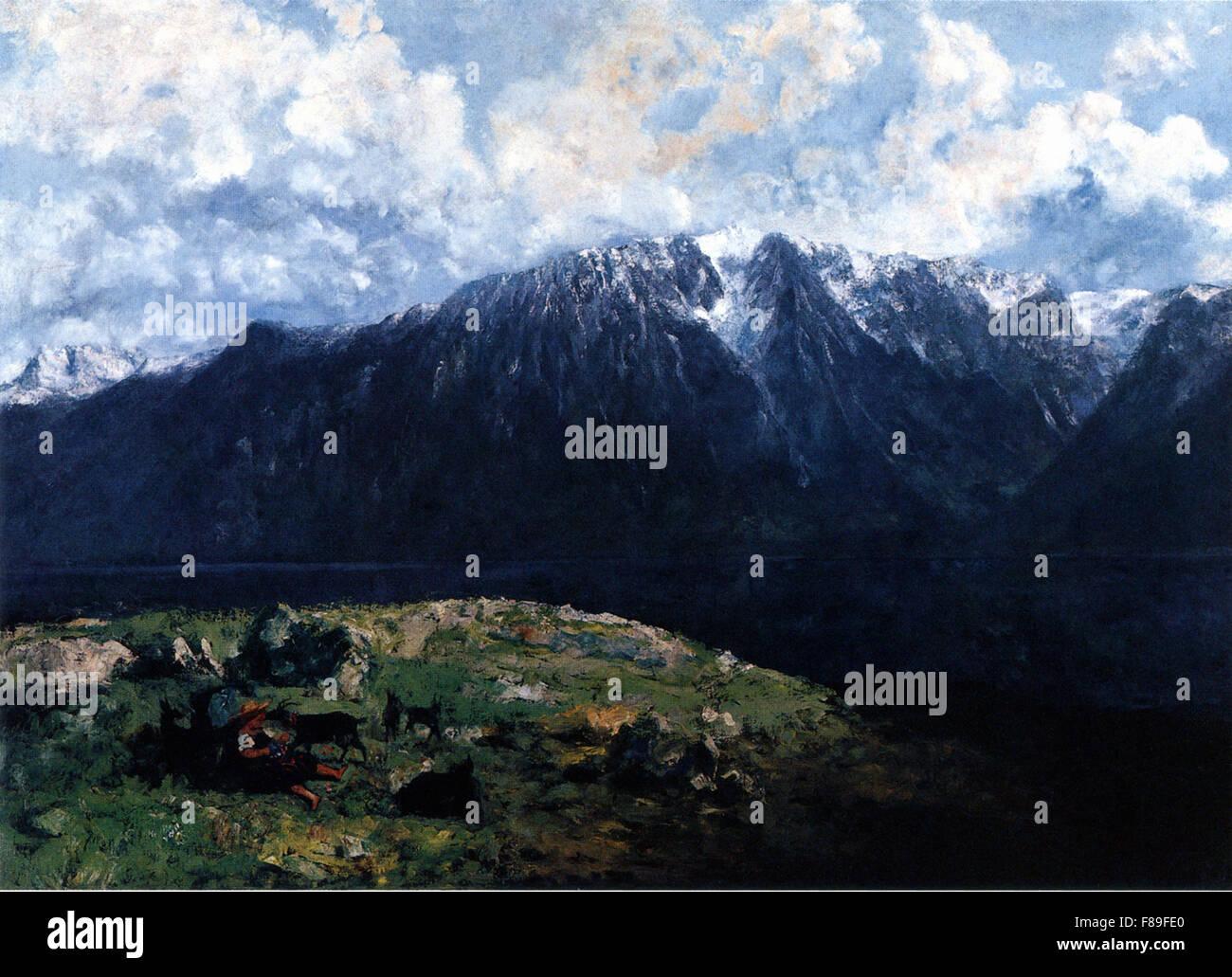 Gustave Courbet - Panoramablick auf die Alpen, Les Dents du Midi Stockbild