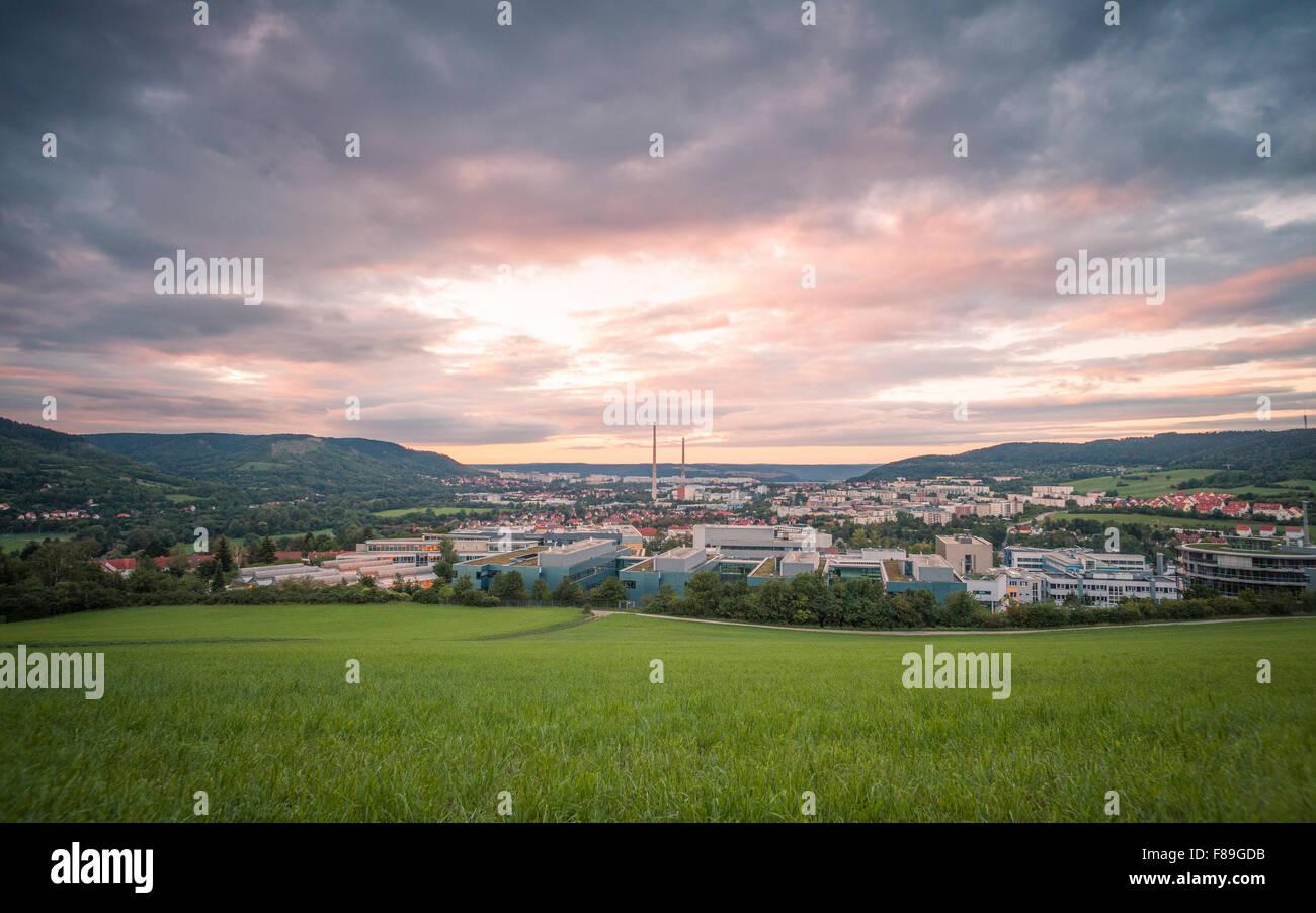 Jena bei Sonnenaufgang, Thüringen, Deutschland Stockbild