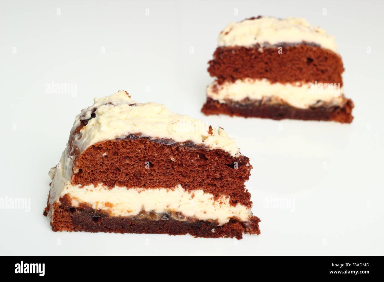 Schokolade Schicht Kuchen Torte Mit Schlagsahne Und Marmelade