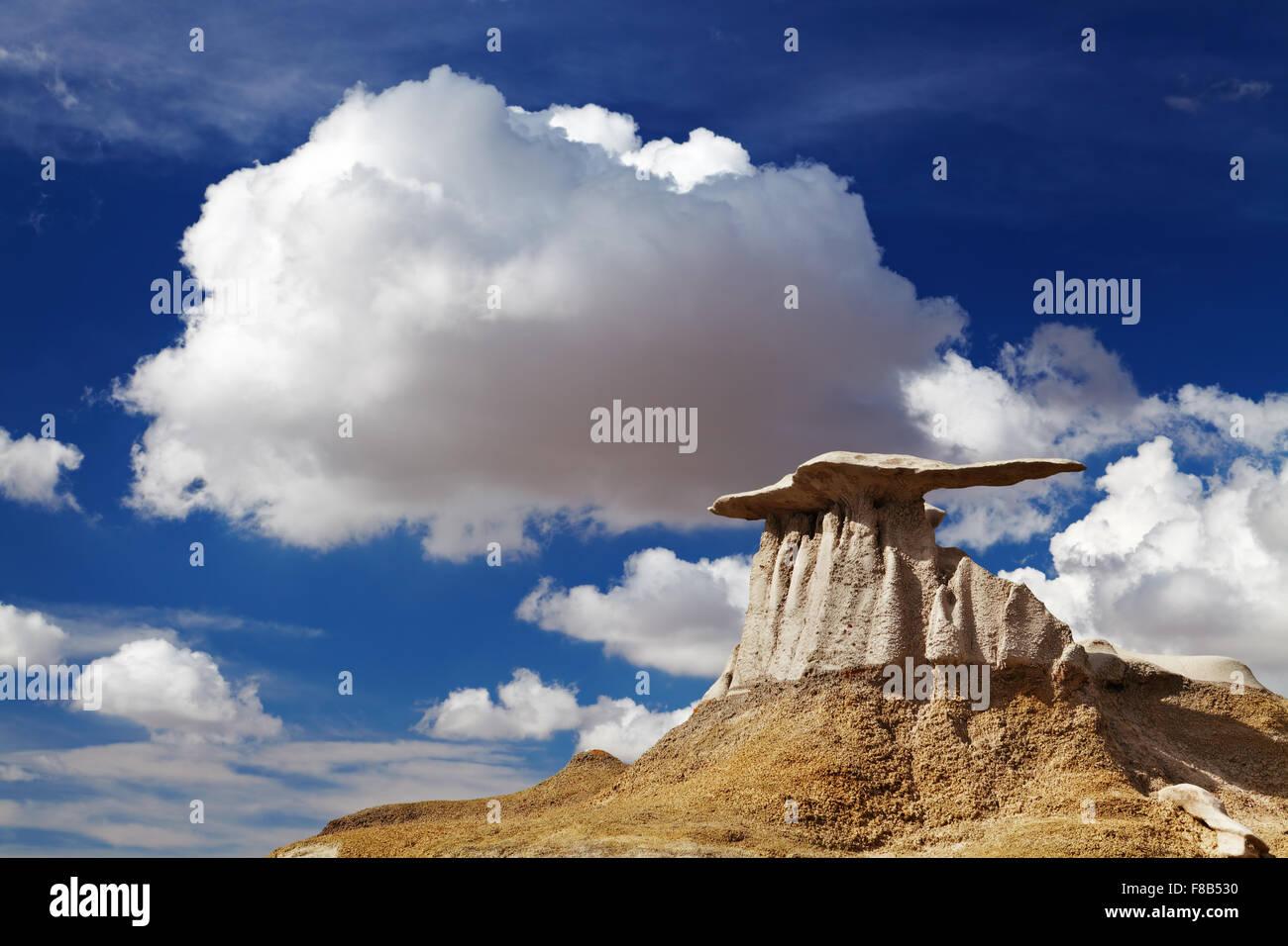 Die Flügel, bizarren Felsformationen in Bisti Badlands, New Mexico, USA Stockbild