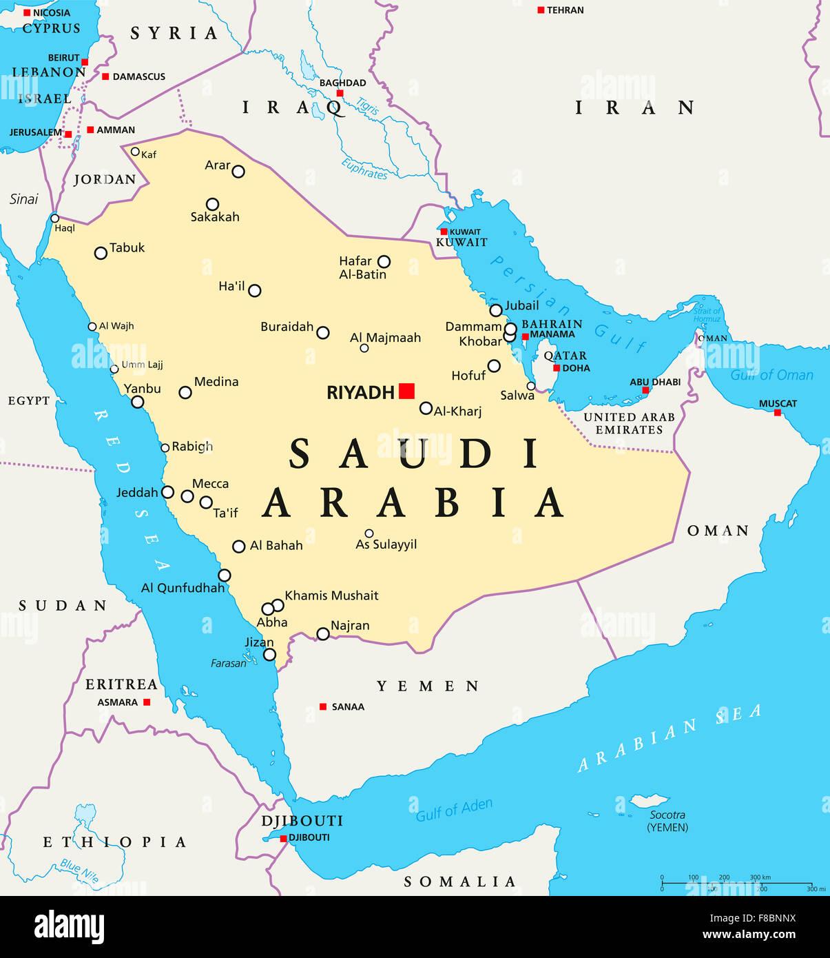 karte saudi arabien Saudi Arabien politische Karte mit Hauptstadt Riad, nationale  karte saudi arabien