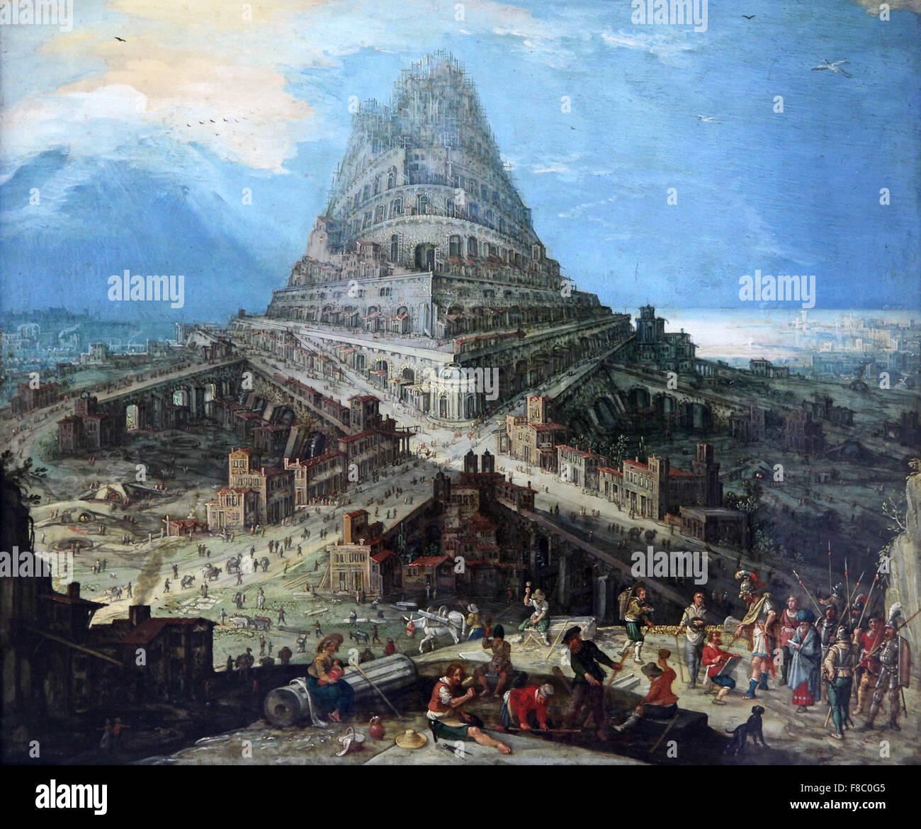 Hendrick van Cleef 1525-1589 den Bau des Turms von Babel Stockbild