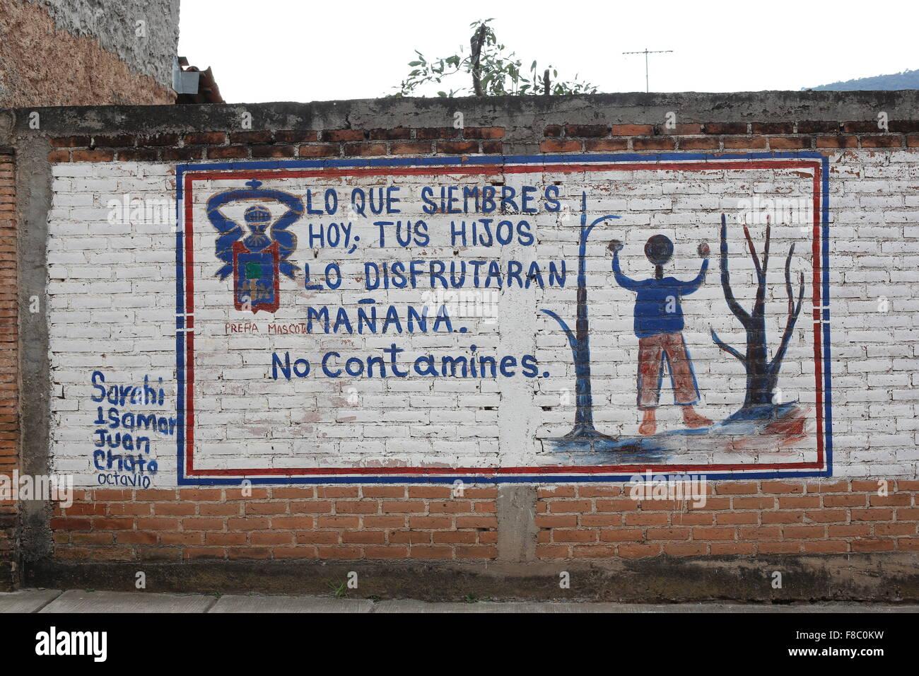 Ein Wandbild in der Stadt von Mascota, Jalisco, Mexiko. Stockbild