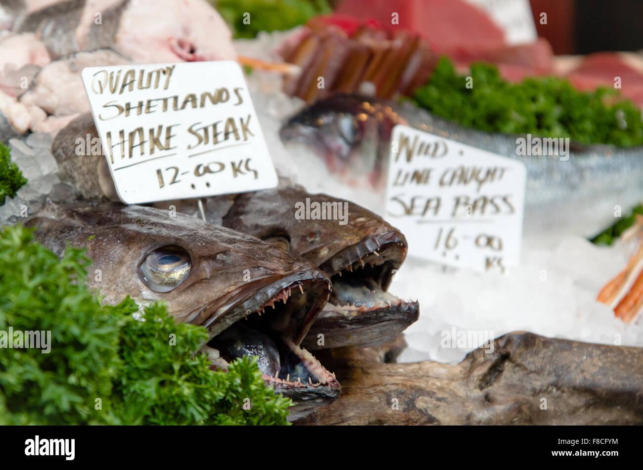 Frischer Fisch zum Verkauf an britischen Markt Stockfoto