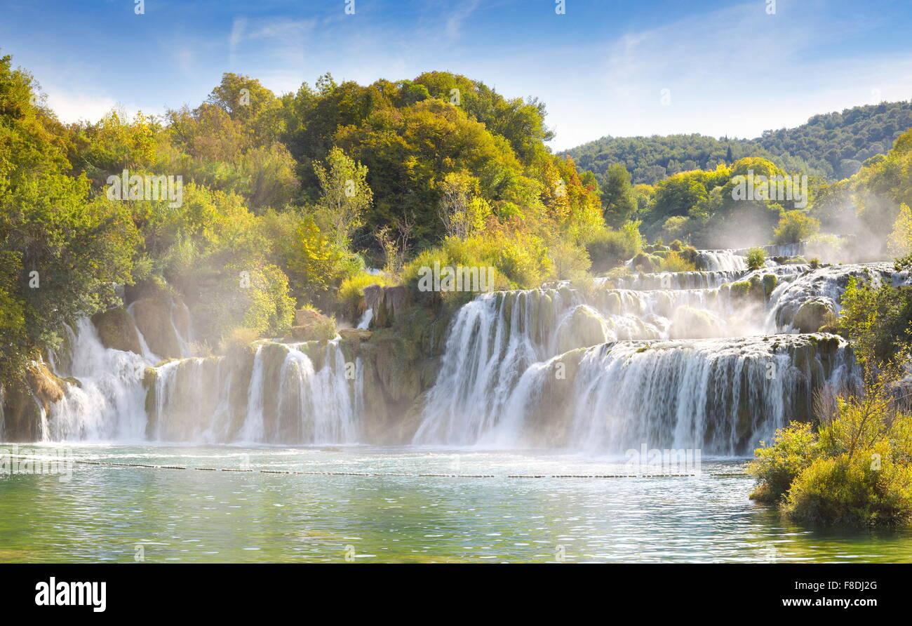 Krka Wasserfälle, Nationalpark Krka, Kroatien, Europa Stockbild