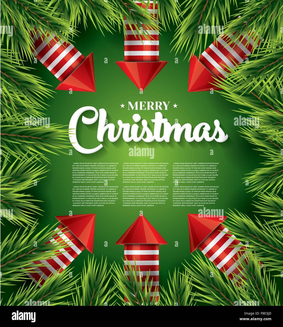 Weihnachtskarten Einladung.Weihnachtskarte Mit Tannenzweig Rote Raketen Und Textfreiraum Auf