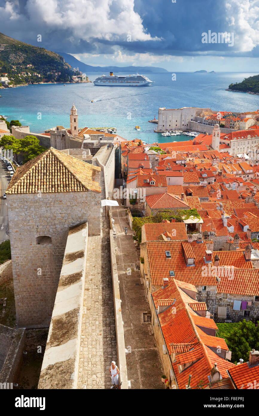 Luftbild der Altstadt von Dubrovnik, Kroatien Stockbild
