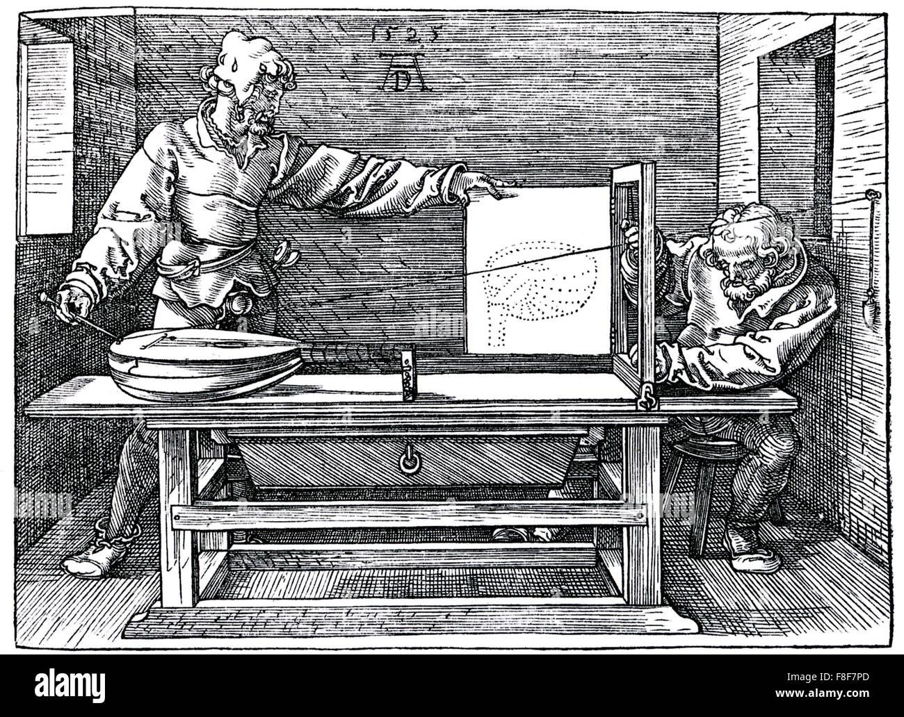ALBRECHT Dürer (1471-1528) eine 1525 Gravur zeigt eine Perspektive Zeichnen einer Laute aus seinem Unterweysung Stockbild
