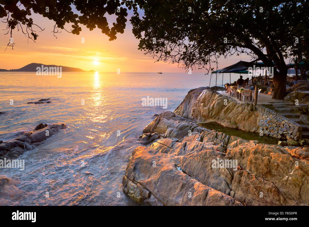 Thailand - Insel Phuket, Patong Beach, Sonnenuntergang Landschaft Stockbild