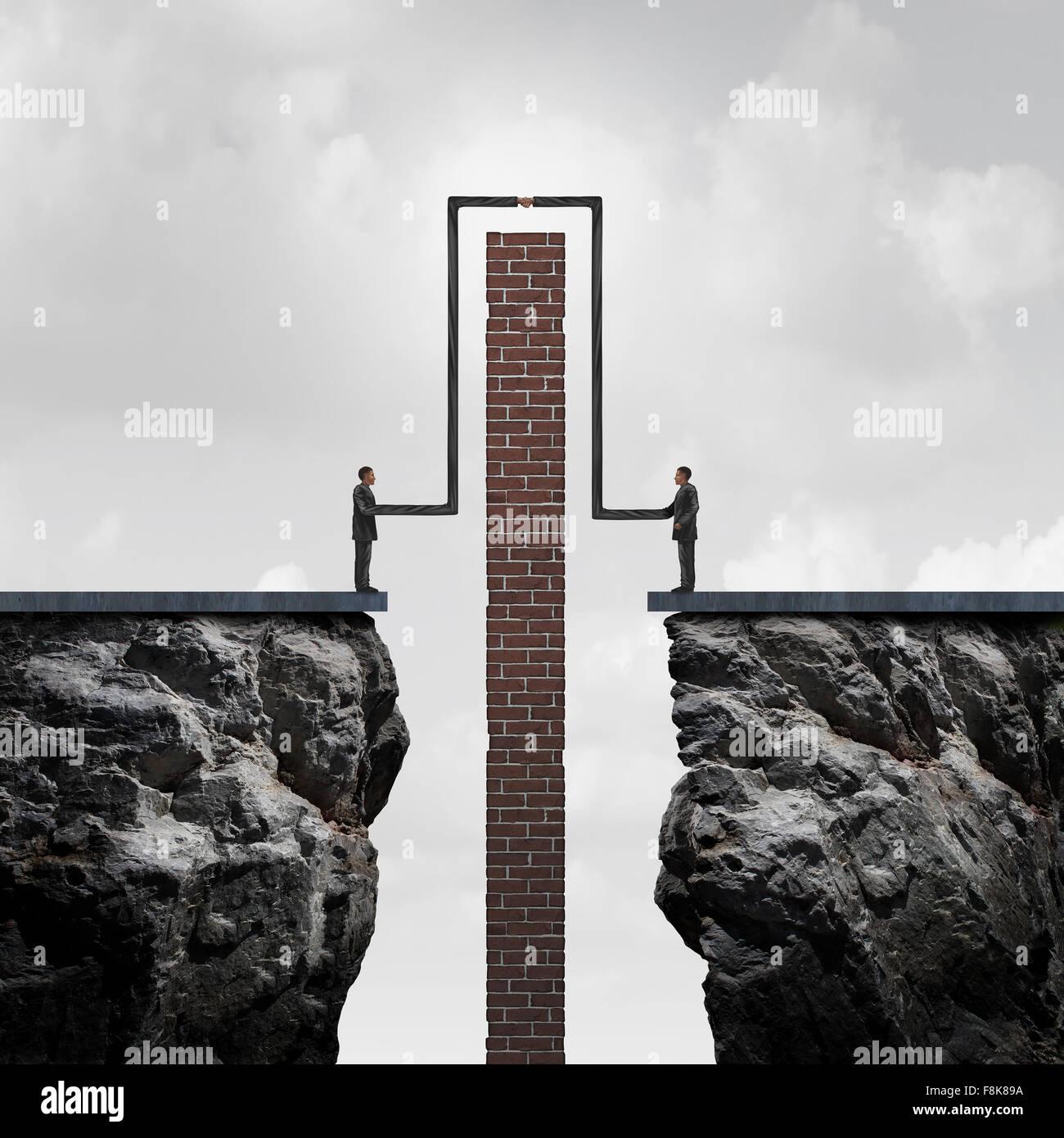 Machen eine Menge überwinden von Hindernissen zu einer Einigung als ein betriebswirtschaftliches Konzept der Stockbild