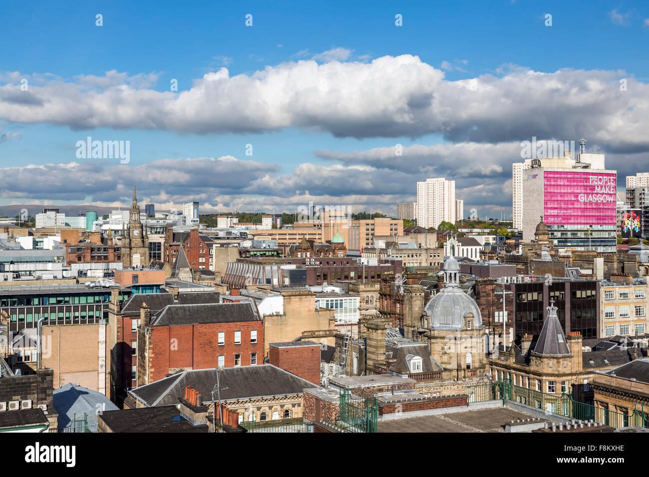 Blick auf den Nordosten über das Stadtzentrum von Glasgow vom Lighthouse Tower, Schottland, Großbritannien Stockfoto