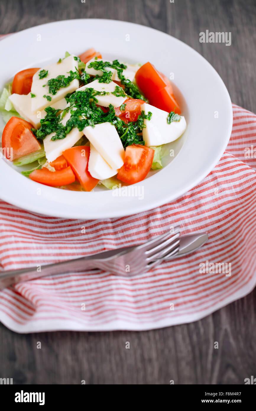 Vogelperspektive Blick auf einen frischen Salat mit Tomaten, Käse, Basilikum, Petersilie und Olivenöl Stockbild