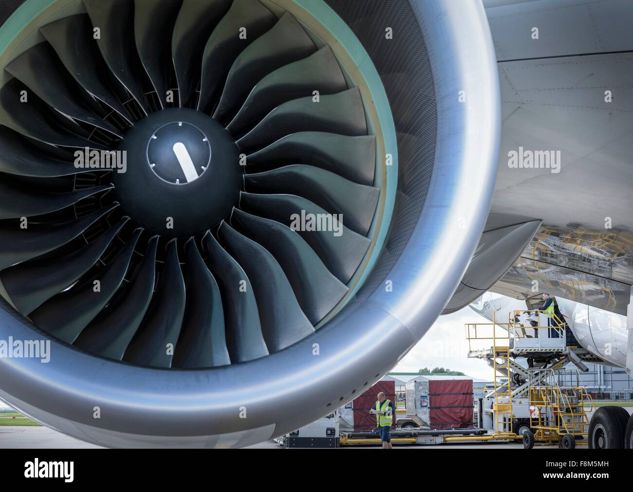 Nahaufnahme von Jet Turbine auf A380-Flugzeuge Stockbild
