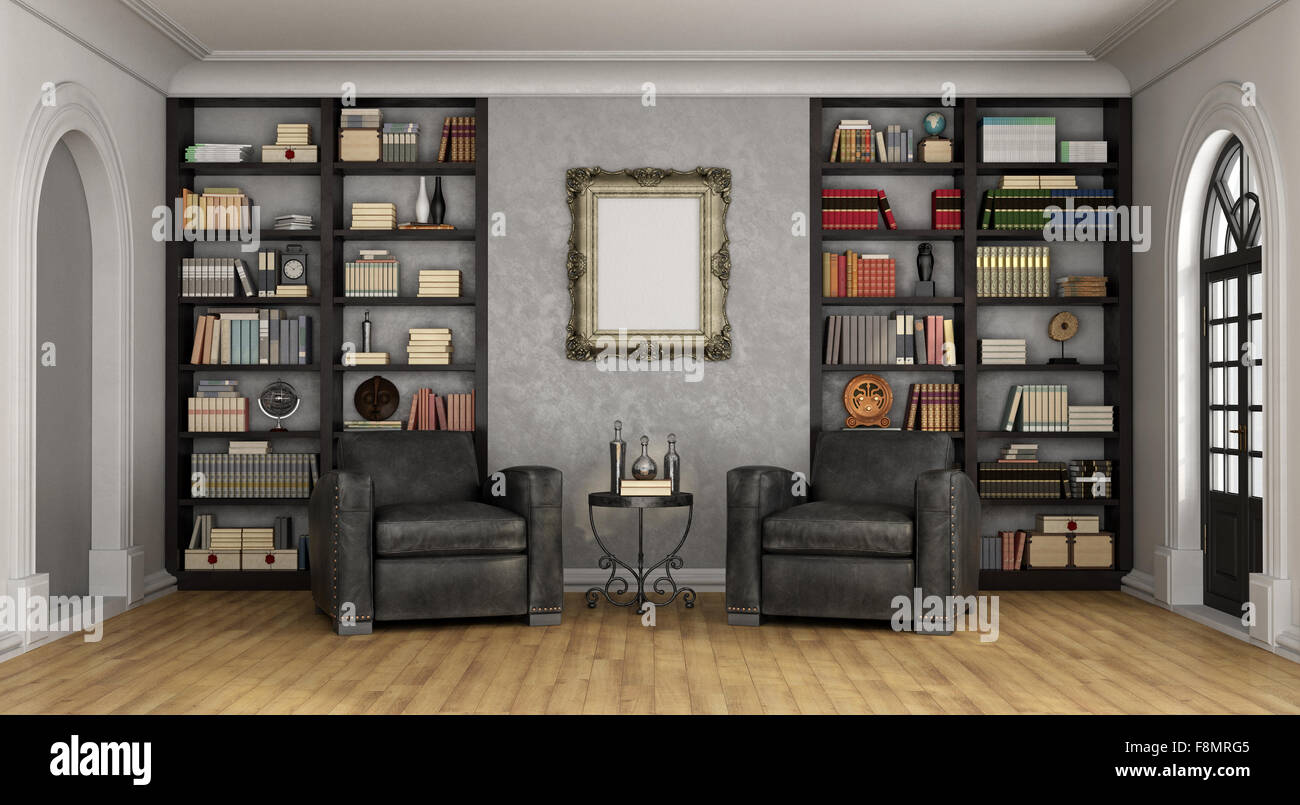 Luxus Wohnzimmer Mit Großen Bücherregal Voller Bücher Und Zwei