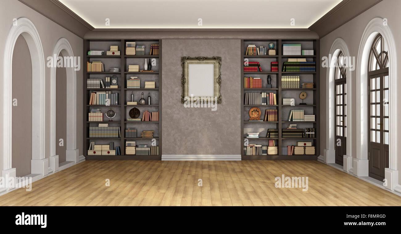Luxus-Wohnzimmer Mit Großen Bücherregal Voller Bücher Und